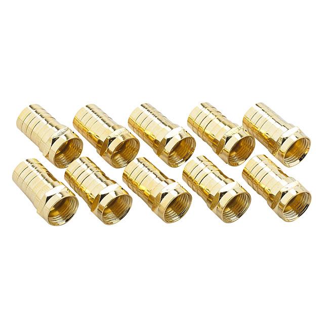 Connecteur F vissable pour câble coaxial, doré, 10/pqt