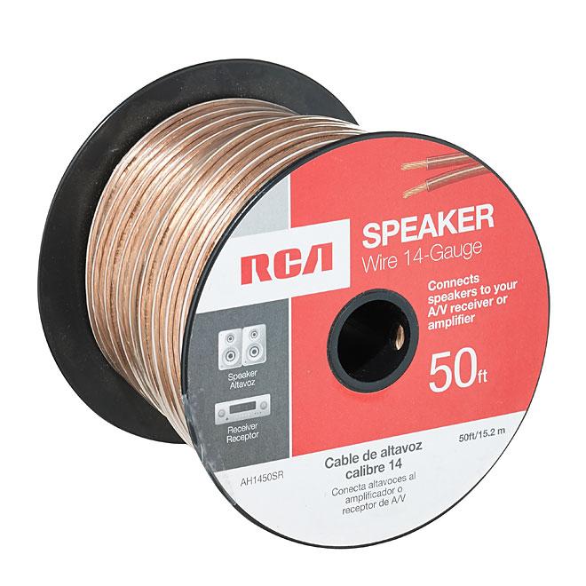 Fil de haut-parleur en cuivre/PVC, 50', calibre 14, or