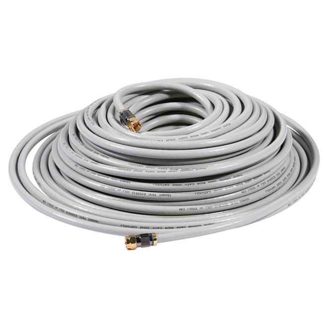 Câble coaxial RG6 de haute qualité, 100', gris