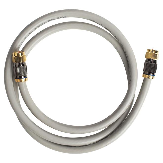 Câble coaxial RG6 de haute qualité, 6', gris