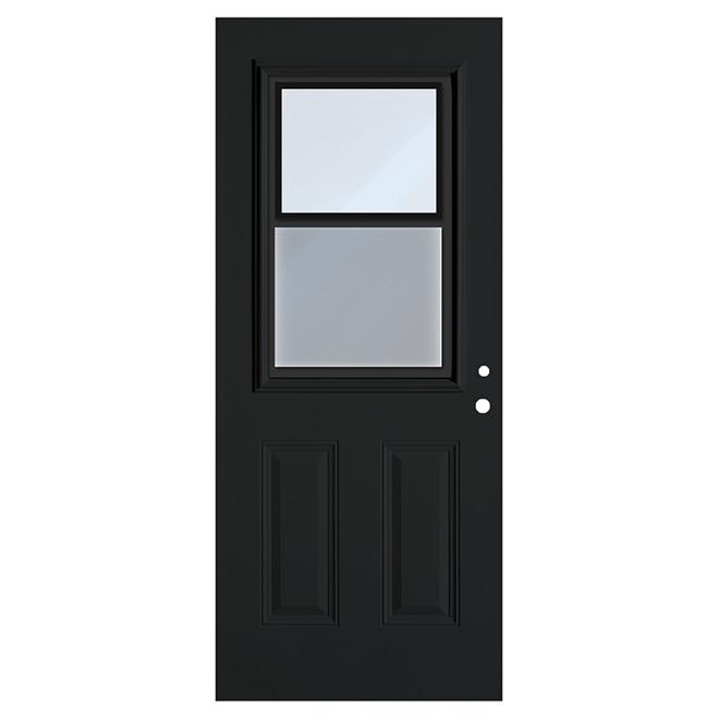 """Porte en acier avec fenêtre à guillotine, noir, 34"""" x 80"""", gauche"""