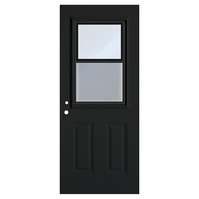 """Porte en acier avec fenêtre à guillotine, noir, 34"""" x 80"""", droite"""