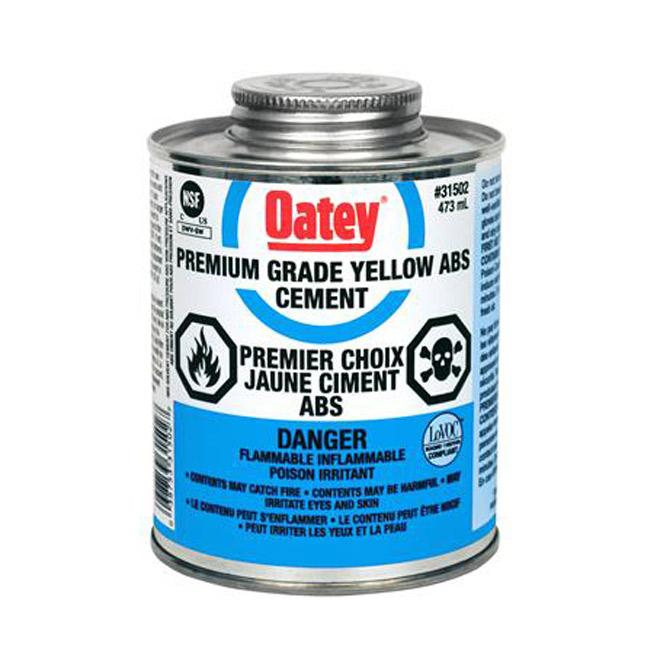 Colle à base de solvant ABS jaune avec tampon, 946 ml