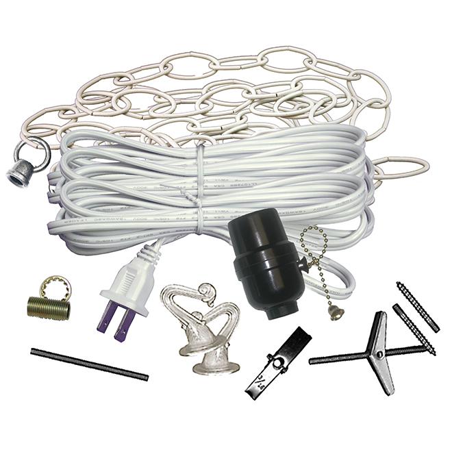 Ensemble de lumière Atron, chaîne ovale de 12 pi, cordon de 15 pi, 2 crochets décoratifs, quincaillerie comprise