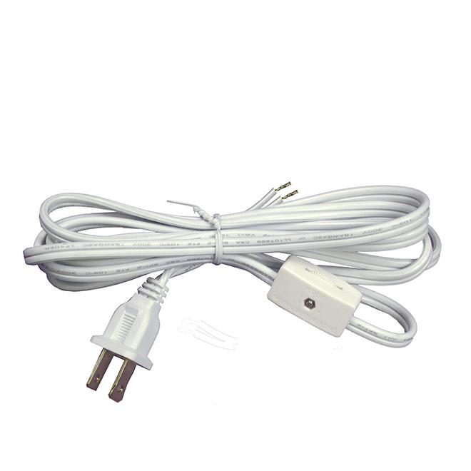 Cordon de lampe de 6' avec interrupteur intégré, blanc
