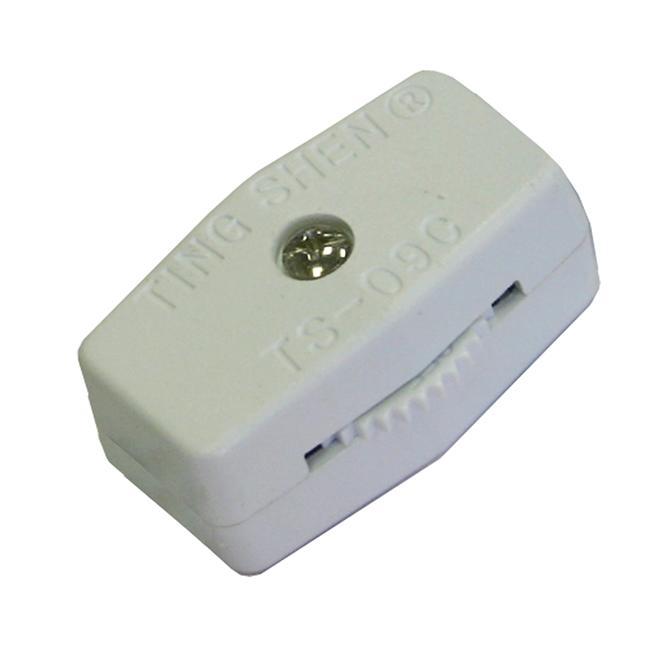 Interrupteur en-ligne unipolaire rotatif, blanc