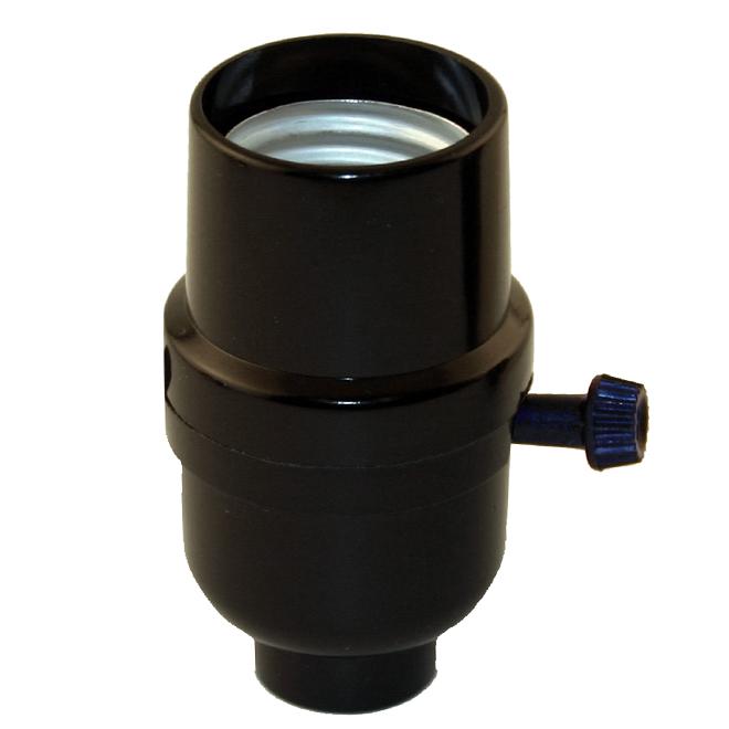 Douille de lampe à interrupteur rotatif 3 intensités, noire