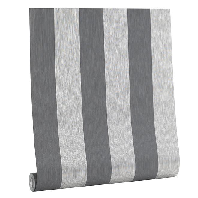 Papier peint à rayures , 56 pi², tons de gris