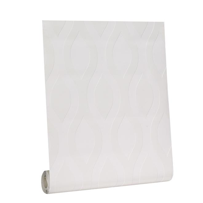 Paintable Wallpaper - Wave Motif - 56 sq.ft. - White