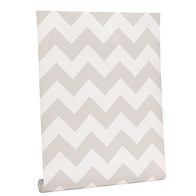 Papier peint à motif de chevron, 56 pi², blanc/gris