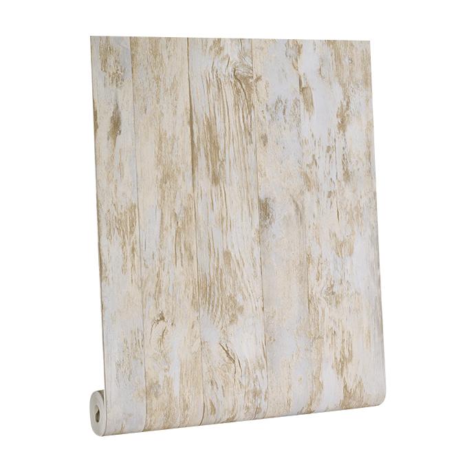 Papier peint, bois de grange, 56 pi², beige/bleu