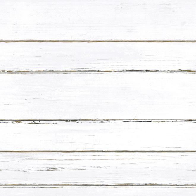 Papier peint planches à feuillure RoomMates, blanc, autocollant, 28,18 pi²