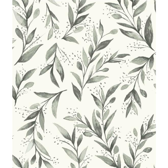 Papier peint autocollant Magnolia Home de RoomMates, branches d'olivier, 198 po x 20,5 po, gris