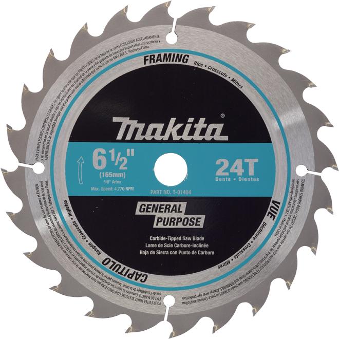 Makita 6.5'' Cordless Circular Saw Blade - 24 Teeth - 10/Pack