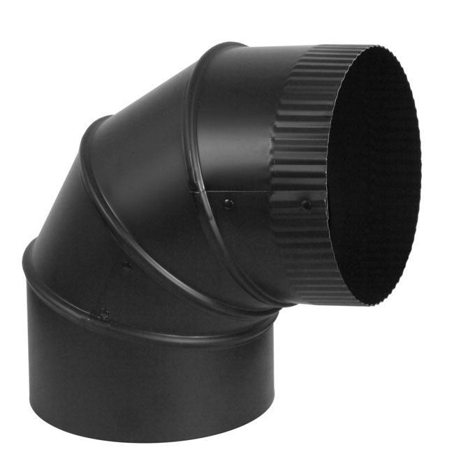 "Adjustable Elbow - Steel - 90° - 7"" x 24 cal - Black"