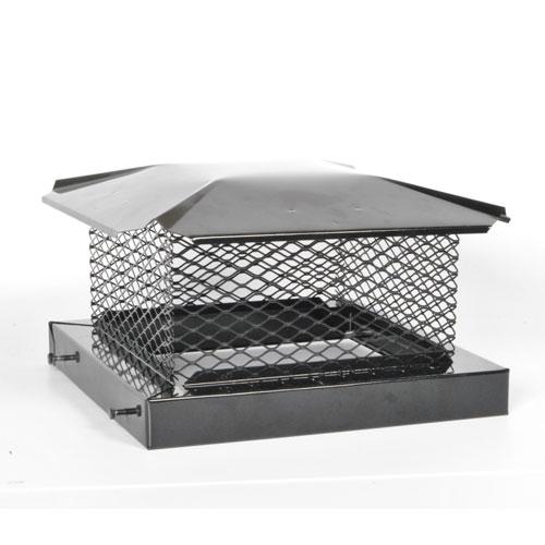 """Chapeau de cheminée carré, 8"""" x 8"""", acier, noir"""