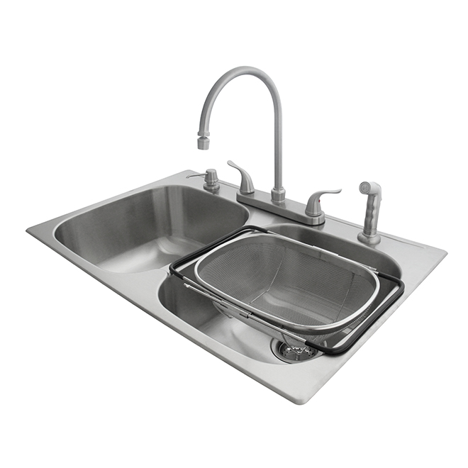 Évier double avec robinet et passoire, acier inoxydable