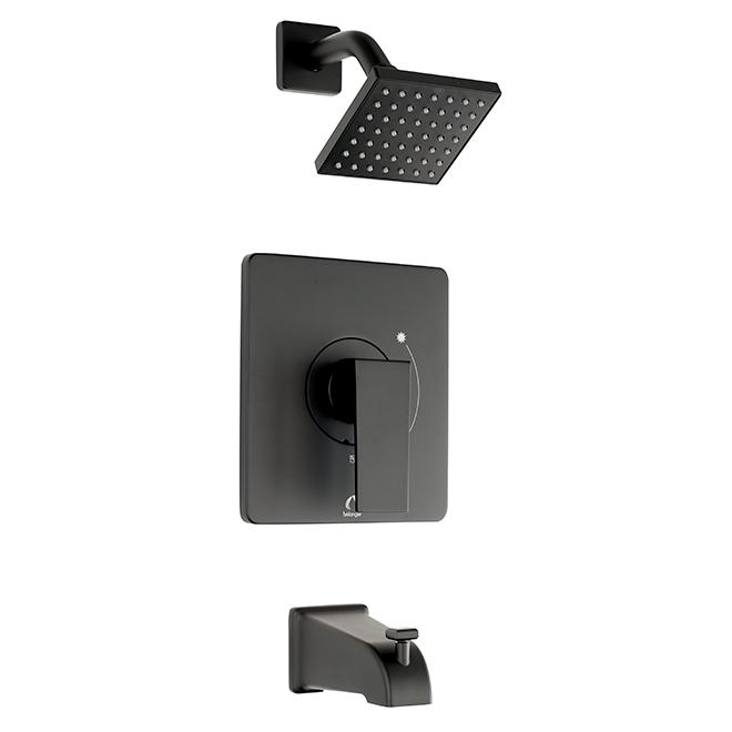 Robinet Quadrato pour baignoire et douche, noir mat
