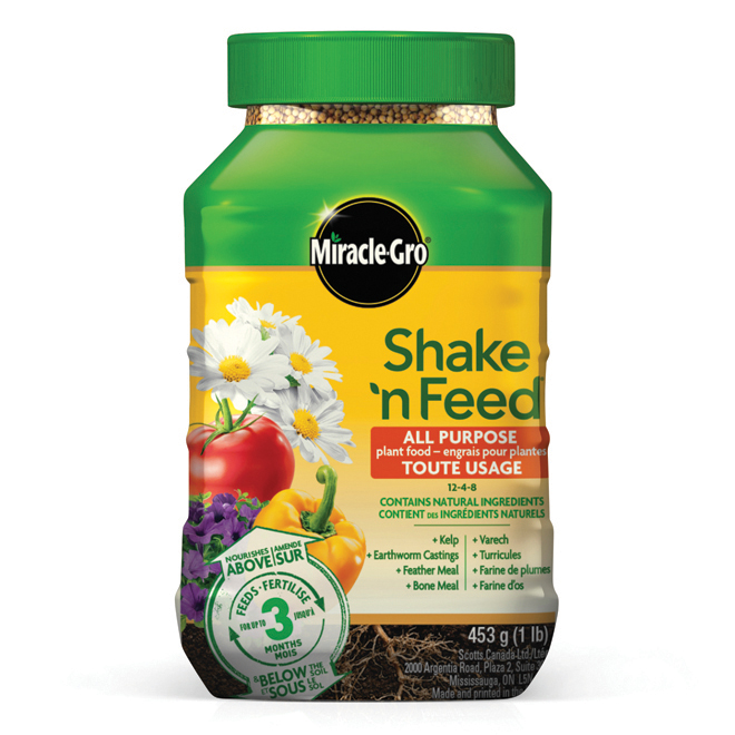 Miracle-Gro Shake 'n Feed All-Purpose Plant Food - 12-4-8 - All Natural Ingredients - 1-lb
