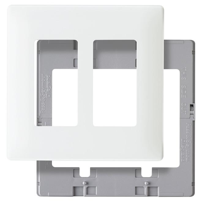 Screwless Wall Plate - 2-Gang - White