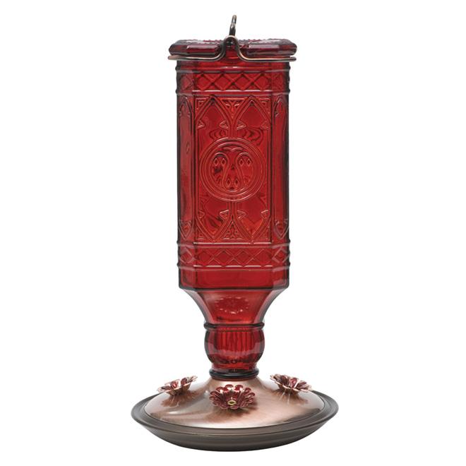 Mangeoire à colibris, bouteille antique, 24 oz, rouge