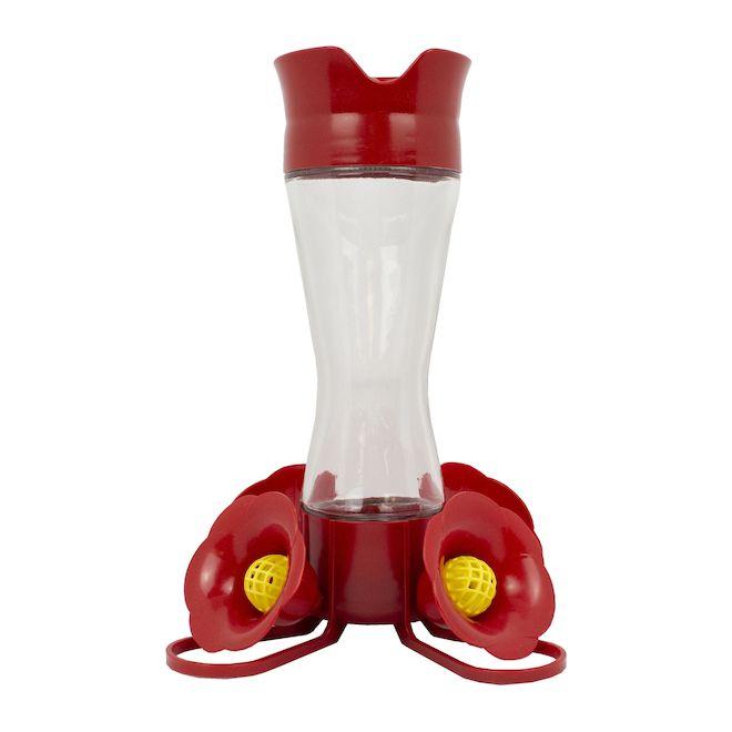 Mangeoire à colibris avec nectar,plastique/verre, 8oz,rouge