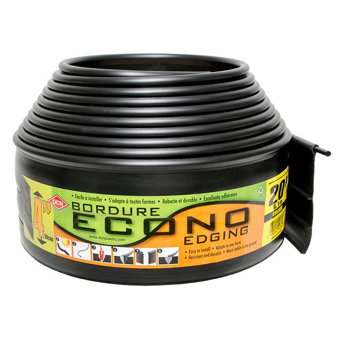 Bordure à gazon Econo DCN, 4 po x 20 pi, plastique, noir mat