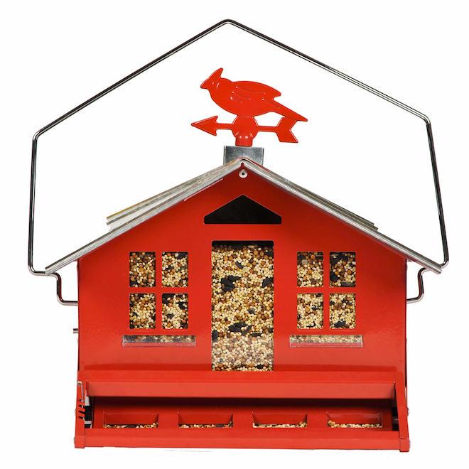 Mangeoire à oiseaux de style champêtre, 12 lb, rouge