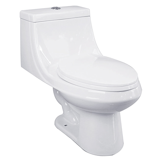 Elongated Front 1-Piece Toilet, 3,8 L/6 L, White