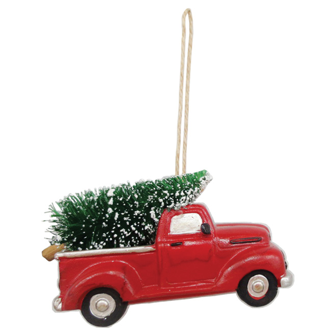 """Ornement pour arbre, camion, métal, 4,5"""", rouge/vert"""
