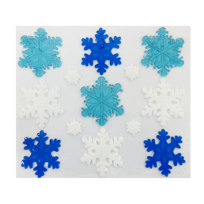 Snowflake Window Stickers - Blue & White - 13 Pieces