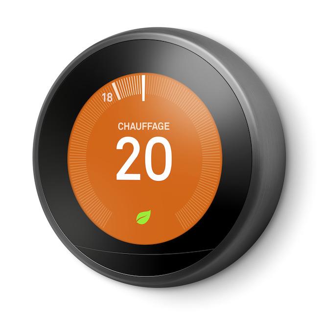 Thermostat intelligent 3e génération avec Wi-Fi, inox