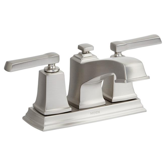 Robinet de salle de bains, 2 poignées, nickel brossé