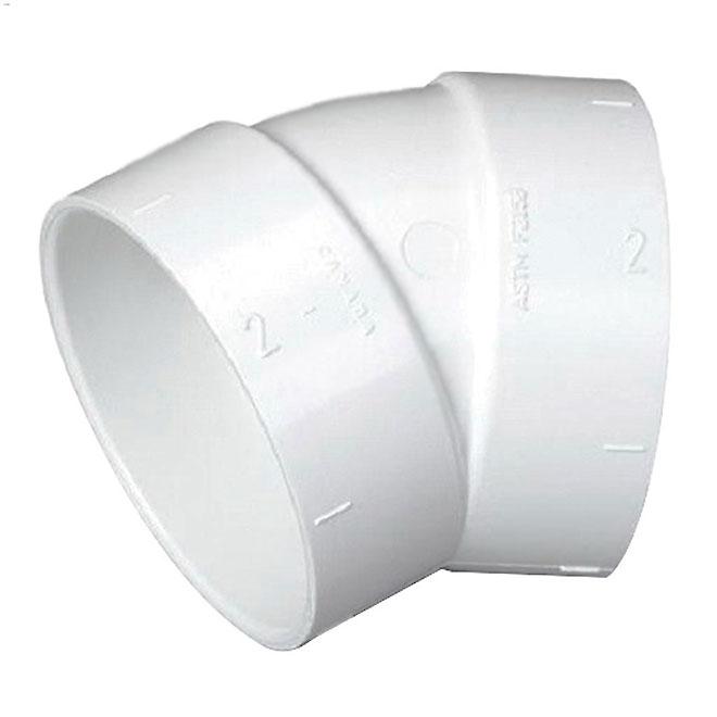 Coude à 30° pour aspirateur central, PVC, 2'', PVC blanc