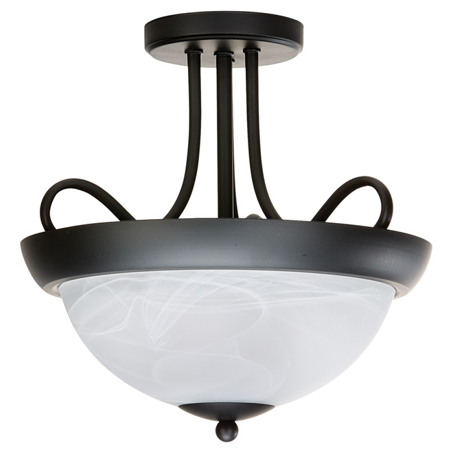 "Lily Semi Flush-Mount Ceiling Light - 12"" - Black/White"