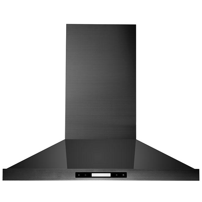 Range Hood - Chimney -  Black Stainless Steel - 30''