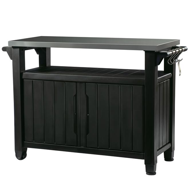 Outdoor Kitchen Cart Stainless Steel Top Grey 50