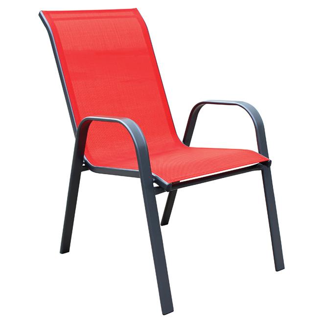 Chaise de patio, empilable, accoudoirs incurvés, rouge