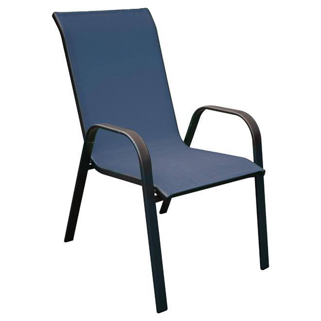 Chaise de patio, empilable, accoudoirs incurvés, bleue