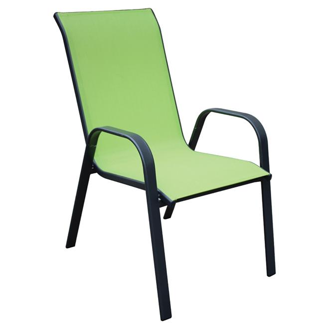 Chaise de patio, empilable, accoudoirs incurvés, vert lime