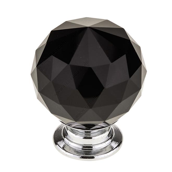 Richelieu Contemporary Black Crystal Knob - 30-mm - Chrome