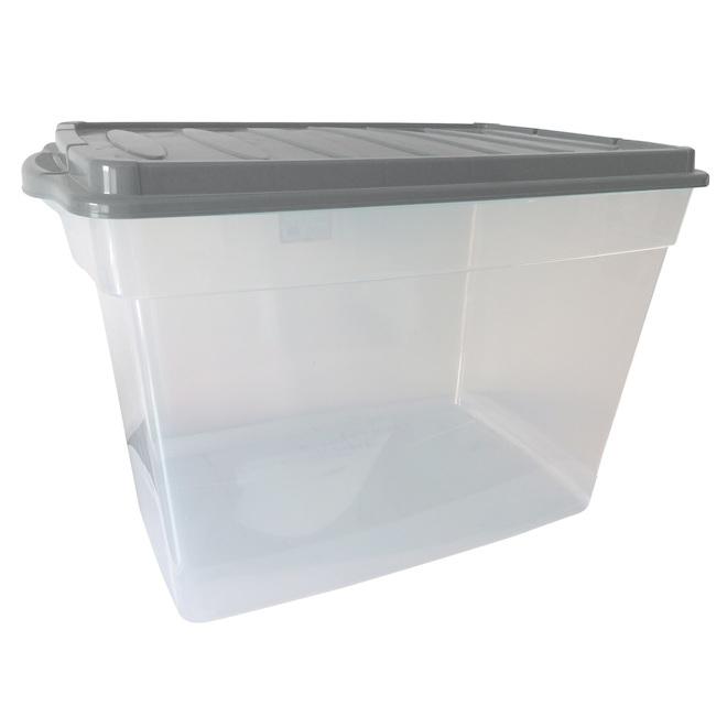 Boîte de rangement, Dura, 60 L plastique, transparent et gris
