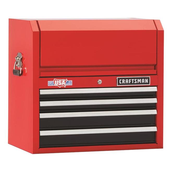 """Coffre à outils, 4tiroirs, 26"""" x 16"""" x 24,5"""", rouge et noir"""