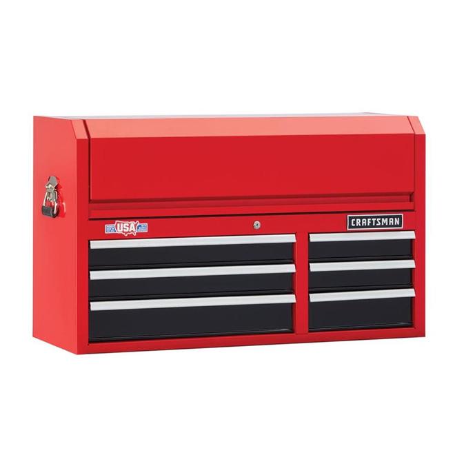 """Coffre à outils, 6tiroirs, 40,5"""" x 16"""" x 24,5"""", rouge et noir"""
