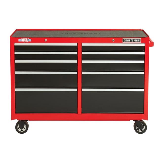 """Armoire à outils, 10tiroirs, 52"""" x 18"""" x 37,5"""", rouge et noir"""