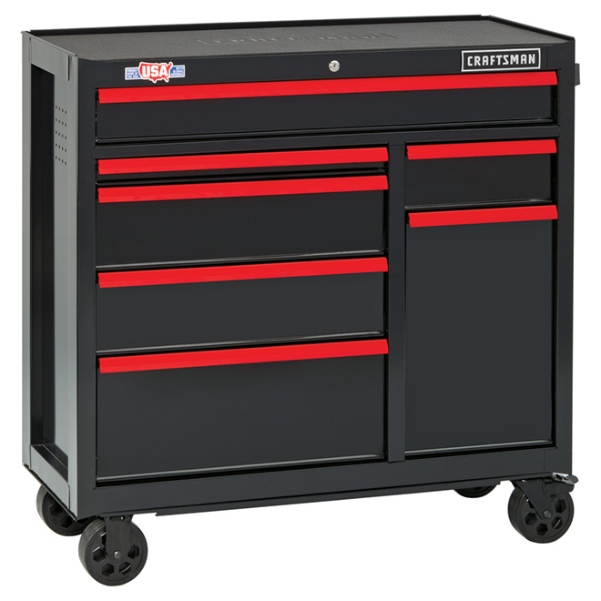 """Tool Cabinet - 7 Drawers - 41"""" - Red and Black"""