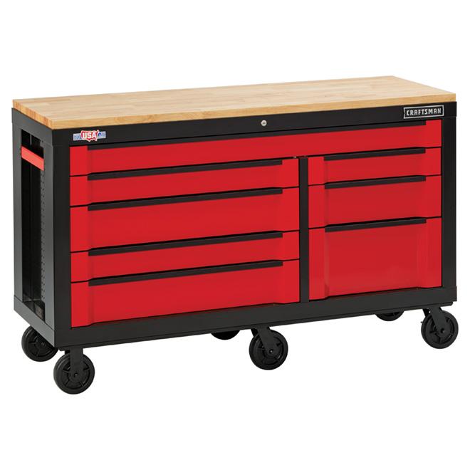 """Armoire à outils, 8 tiroirs, 63"""", rouge et noir"""