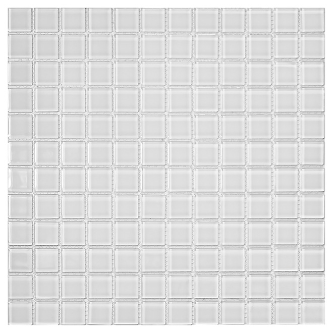 "Glass Mosaic Tile - 12"" x 12"" - Ultra White"