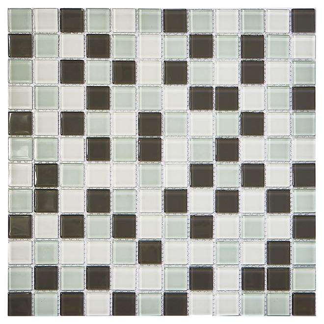 Carreau de mosaïque en verre, 12 po x 12 po, blanche/grise