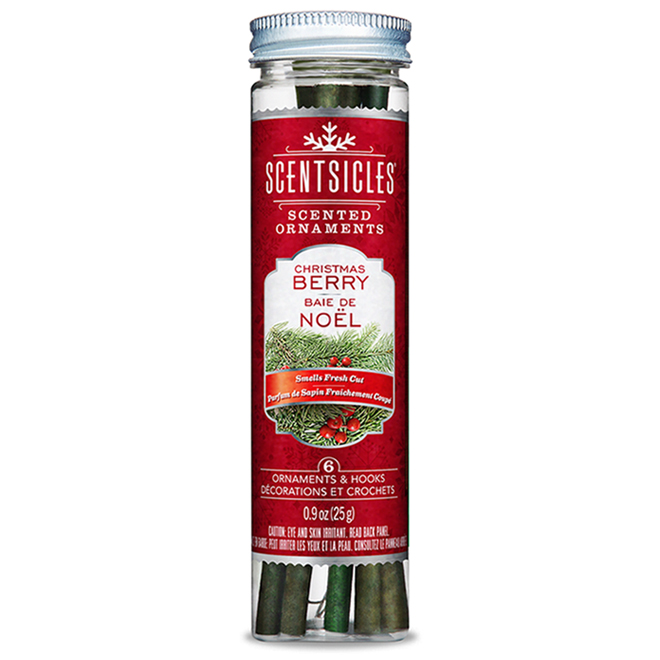 Ornements parfumés ScentSicles, baies de Noël, 6/pqt